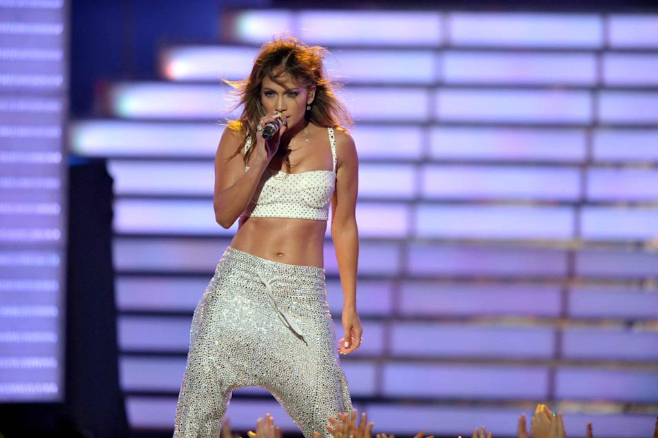 "Jennifer Lopez performs onstage at the ""American Idol"" finale on Wednesday, May 23, 2012 in Los Angeles. (Photo by John Shearer/Invision/AP)"