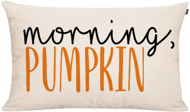 Throw Pillow Cover Autumn Decor Watercolor Pumpkins Morning Pumpkin Pillow Cover. Image via Amazon.