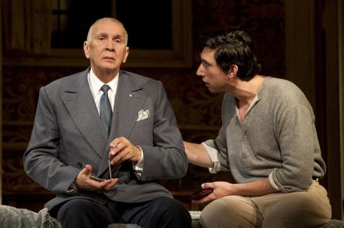 """In this undated image released by Boneau/Bryan-Brown, actors Frank Langella, left, and Adam Driver are shown in a scene from the play """"Man and Boy"""" in New York. Langella was nominated for a Tony Award for best actor in a play, Tuesday, May 1, 2012, for his role in """"Man and Boy."""" The Tony Awards will be broadcast live from the Beacon Theatre on CBS, Sunday, June 10. (AP Photo/Boneau/Bryan-Brown, Joan Marcus)"""