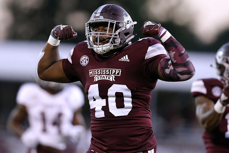 STARKVILLE, MS - OCTOBER 27: Erroll Thompson #40 of the Mississippi State Bulldogs reacts after a tackle during the first half against the Texas A&M Aggies at Davis Wade Stadium on October 27, 2018 in Starkville, Mississippi. (Photo by Jonathan Bachman/Getty Images)
