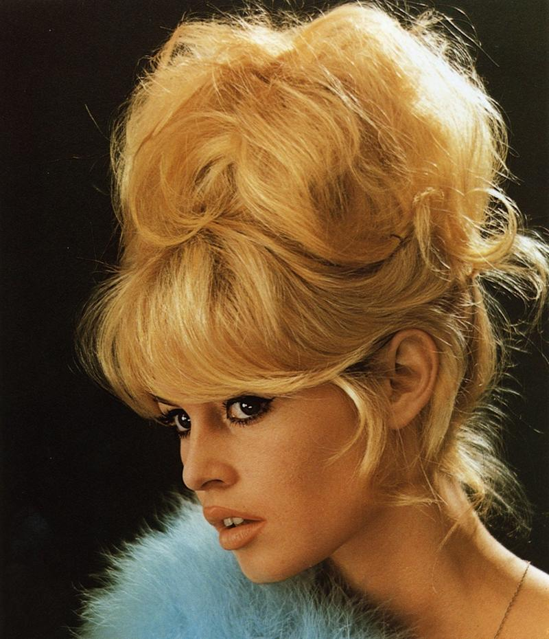 color photo of brigitte bardot with curly updo