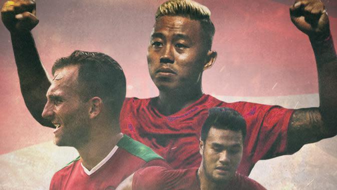 Timnas Indonesia - Penyerang Timnas Indonesia- Kushedya Yudo, Ilija Spasojevic, Muhammad Rafli (Bola.com/Adreanus Titus)