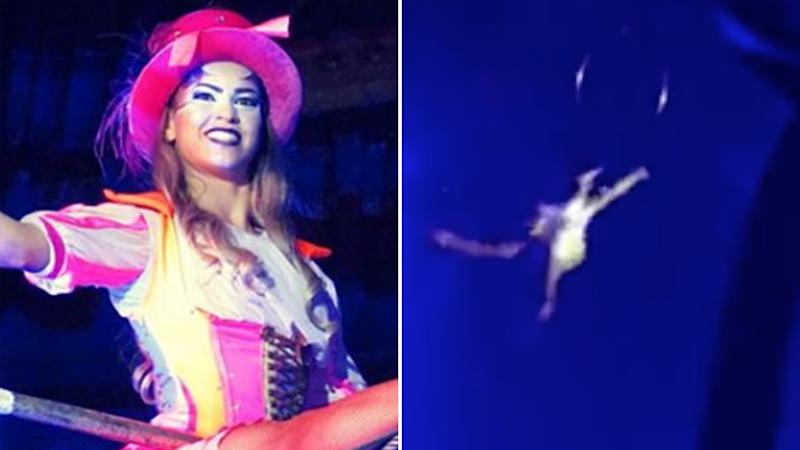 Circusrio performer Gabrielle Souza (left) suffered multiple injuries after falling almost nine metres during her act in Adelaide's Glenelg. On the right is a still of a video showing her fall.