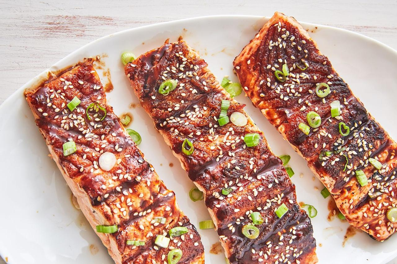 """<p>This is divine.</p><p>Get the recipe from <a href=""""https://www.delish.com/cooking/recipe-ideas/recipes/a53482/best-bbq-salmon-recipe/"""" target=""""_blank"""">Delish</a>.</p>"""