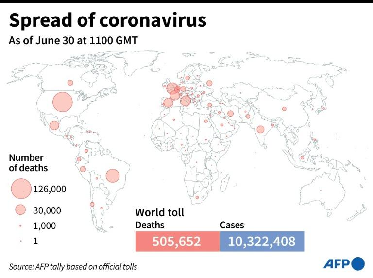 World map showing official number of coronavirus deaths per country, as of June 30 at 1100 GMT