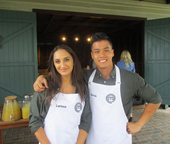 MasterChef Australia contestants Larissa Takchi and Derek Lau.