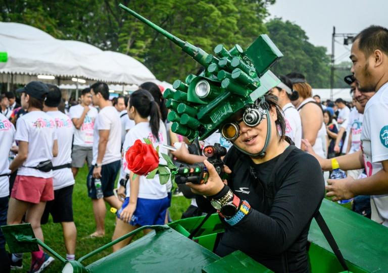 Many participants wore costumes for the anti-government fun run