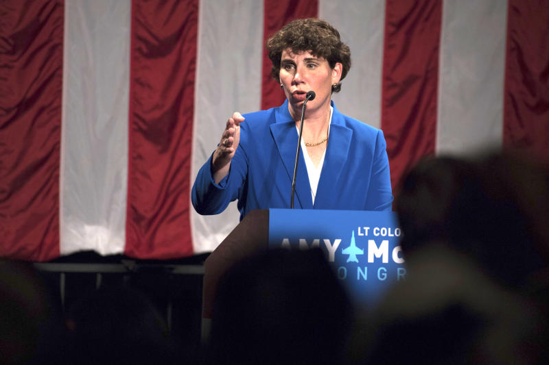 HOLD FOR STORY- FILE - In a Tuesday, Nov. 6, 2018 file photo, Democratic congressional candidate Amy McGrath speaks to supporters in Richmond, Ky. McGrath is seeking the Democratic nomination for U.S. Senate, but could face a stiff challenge from Democratic state Rep. Charles Booker. (AP Photo/Bryan Woolston, File)