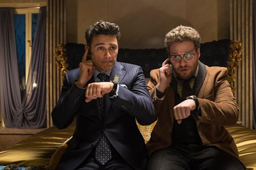 """This photo released by Sony - Columbia Pictures shows James Franco, left, as Dave and Seth Rogen as Aaron in a scene from Columbia Pictures' """"The Interview."""" Netflix's chief content officer says the streaming service wants to make Sony's """"The Interview"""" available to its 53 million worldwide subscribers. (AP Photo/Sony - Columbia Pictures, Ed Araquel)"""