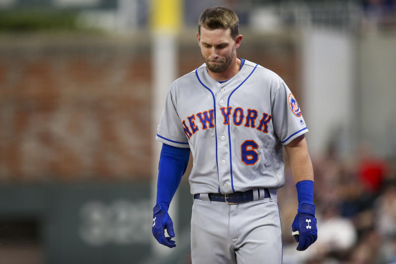 Aug 13, 2019; Atlanta, GA, USA; New York Mets left fielder Jeff McNeil (6) reacts against the Atlanta Braves in the ninth inning at SunTrust Park. Mandatory Credit: Brett Davis-USA TODAY Sports