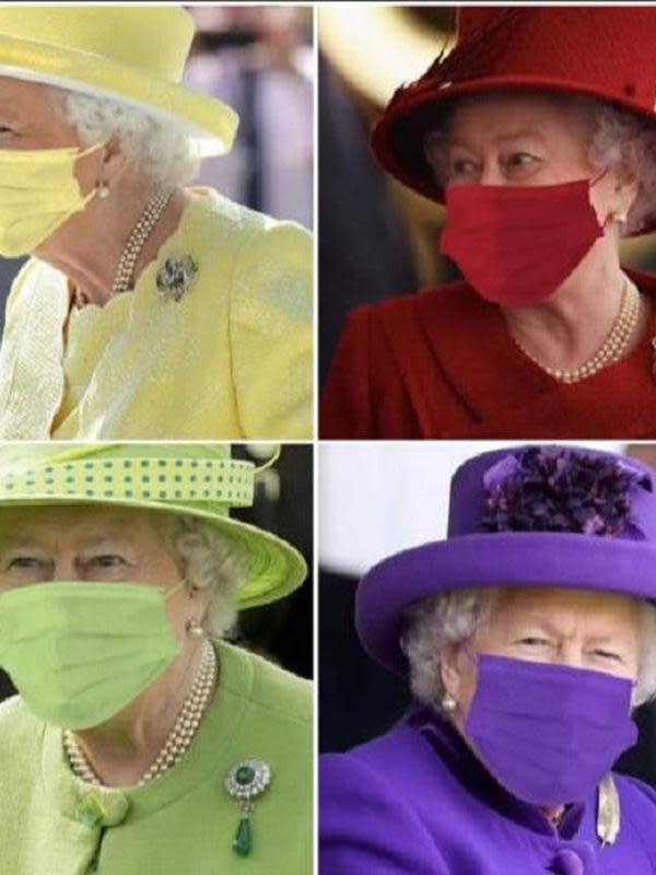 Warganet membuat potret Ratu Elizabeth II sedang menggunakan masker warna-warni (Dok.Istimewa)