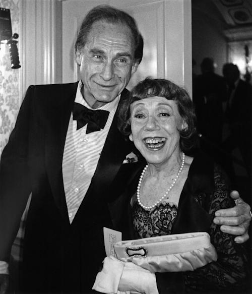 "FILE - This June 18, 1990 file photo shows comedians Sid Caesar, left, and Imogene Coca in New York for the Museum of Broadcasting's first annual ""Salute to Television."" Caesar, whose sketches lit up 1950s television with zany humor, died Wednesday, Feb. 12, 2014. He was 91. (AP Photo/Aubrey Reuben, File)"