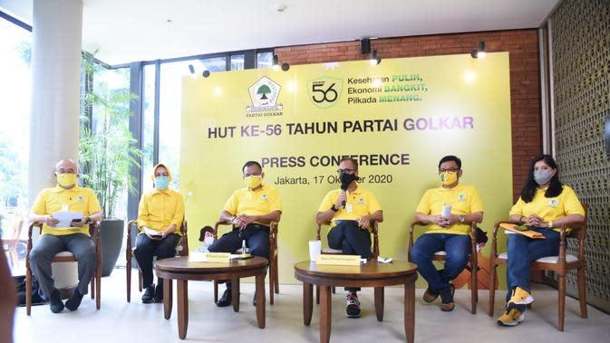 Panitia HUT ke-56 Partai Golkar saat konferensi pers, Sabtu (17/10/2020). (dok Golkar)