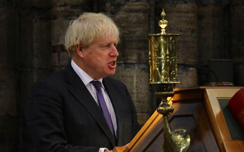 Prime Minister Boris Johnson speaking during a service to mark the 80th anniversary of the Battle of Britain at Westminster Abbey - Aaron Chown/PA