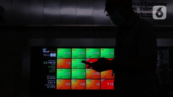 Pekerja melintas di dekat layar digital pergerakan saham di Gedung BEI, Jakarta, Rabu (14/10/2020). Pada pembukaan perdagangan pukul 09.00 WIB, IHSG masih naik, namun tak lama kemudian, IHSG melemah 2,3 poin atau 0,05 persen ke level 5.130, 18. (Liputan6.com/Angga Yuniar)
