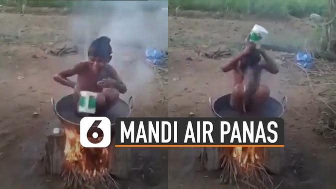 VIDEO: Kocak, Bocah Mandi Air Panas dengan Cara Tradisional