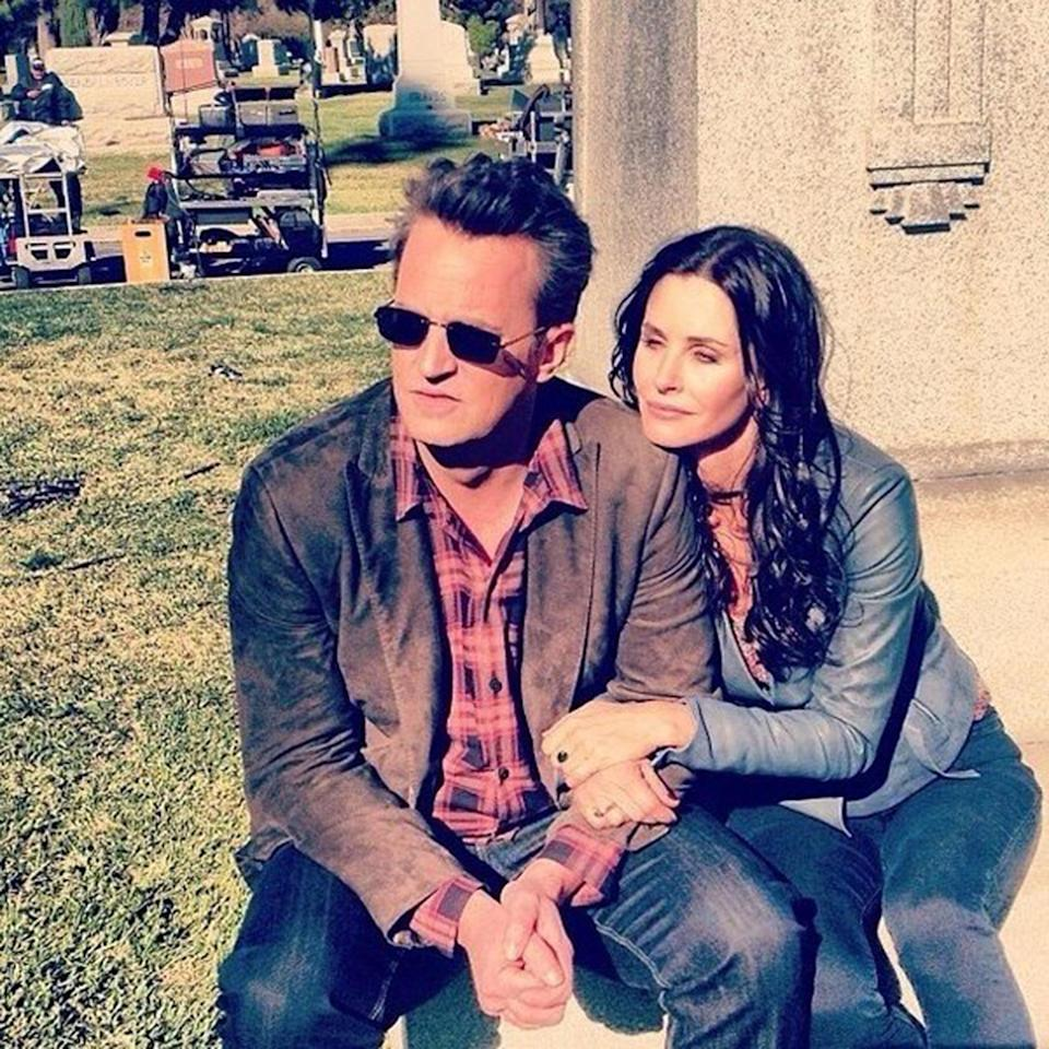 "<a href=""https://ew.com/tag/matthew-perry/"" target=""_blank"">Matthew Perry</a> shared this behind-the-scenes pic of him and his former onscreen wife <a href=""https://ew.com/tag/courteney-cox/"" target=""_blank"">Courteney Cox</a> hanging out while filming an episode of Perry's own comedy series <em>Go On</em>, in which the two go on (another) date that goes horribly wrong — grand theft auto style."