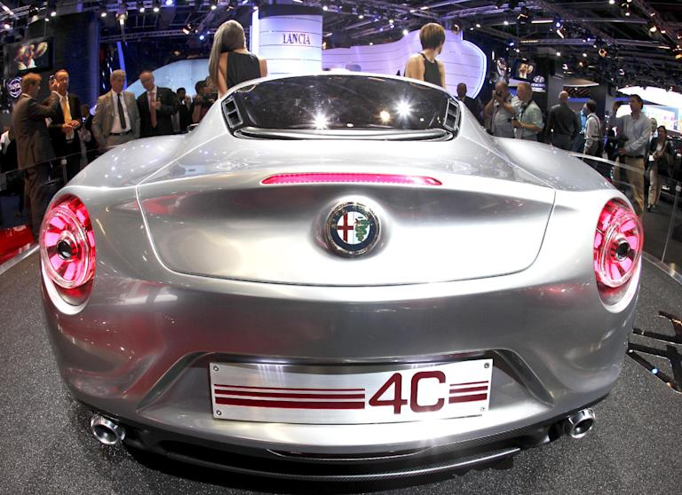 The back of Alfa Romeo C4 concept car is photographed during the press day at the 64th Frankfurt Auto Show in Frankfurt, Germany, Tuesday, Sept.13, 2011. (AP Photo/Michael Probst)