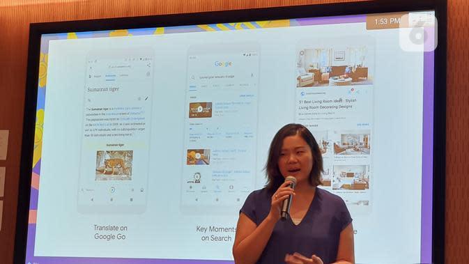 Product Lead Google Search Bibo Xu menjelaskan tiga fitur terbaru yang ada di Google Go (Liputan6.com/ Agustin Setyo Wardani)