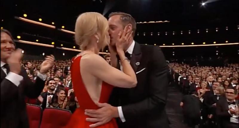 A photo of Nicole Kidman and Alexander Skarsgard kissing at the 2017 Emmy Awards.