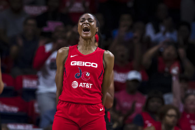 WASHINGTON, DC - SEPTEMBER 17: LaToya Sanders #30 of the Washington Mystics reacts against the Las Vegas Aces during the first half of Game One of the 2019 WNBA playoffs at St Elizabeths East Entertainment & Sports Arena on September 17, 2019 in Washington, DC. NOTE TO USER: User expressly acknowledges and agrees that, by downloading and or using this photograph, User is consenting to the terms and conditions of the Getty Images License Agreement. (Photo by Scott Taetsch/Getty Images)