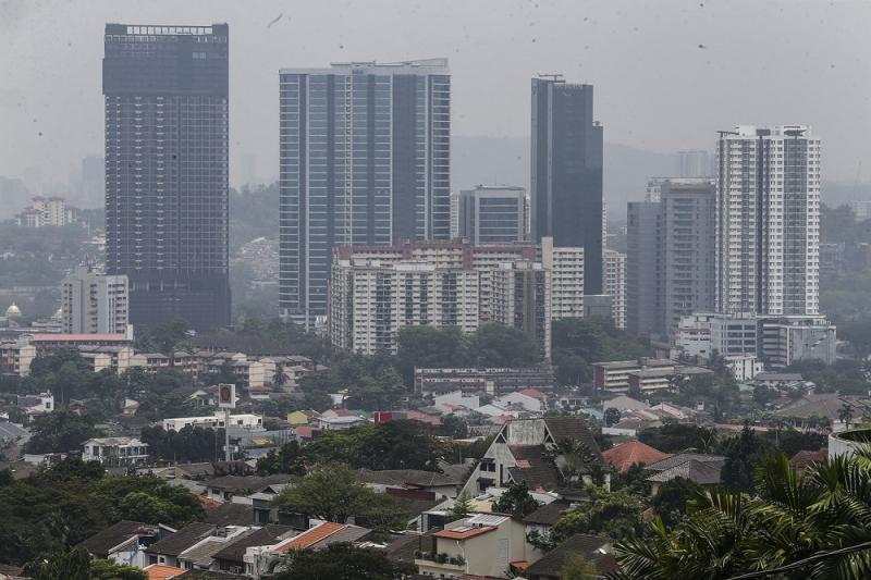 A general view of office blocks and condominiums in the Bangsar area in Kuala Lumpur. — Picture by Hari Anggara