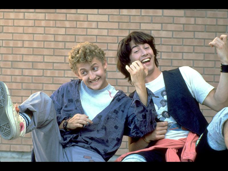 "Alex Winter and Keanu Reeves as Bill and Ted (l-r) in scene from movie ""Bill & Ted's Excellent Adventure"", photo on black"
