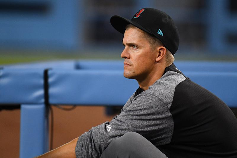 LOS ANGELES, CA - JULY 02: Arizona Diamondbacks pitcher Zack Greinke (21) looks on in the dugout during a MLB game between the Arizona Diamondback and the Los Angeles Dodgers on July 2, 2019 at Dodger Stadium in Los Angeles, CA. (Photo by Brian Rothmuller/Icon Sportswire via Getty Images)