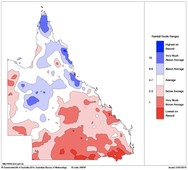 The Stanthorpe region has experienced drought for two years. Source: Bureau of Meteorology