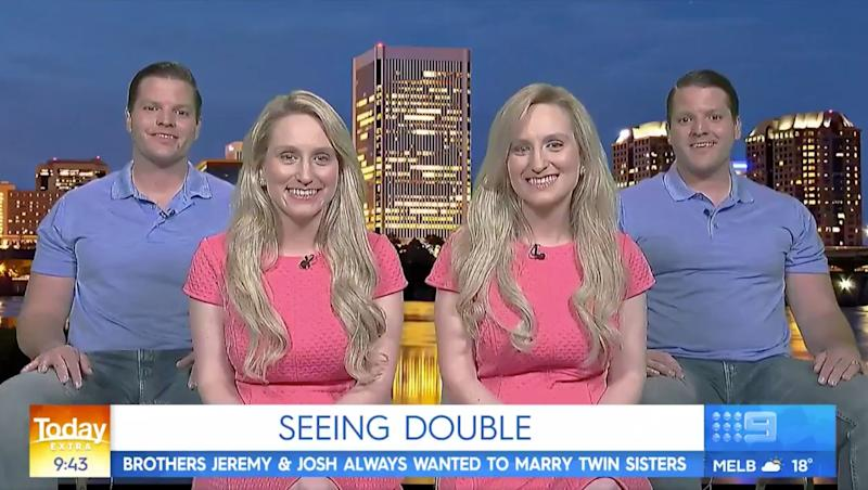 Identical twins Brittany and Briana Deane and husbands Jeremy and Josh Slater on Today Extra