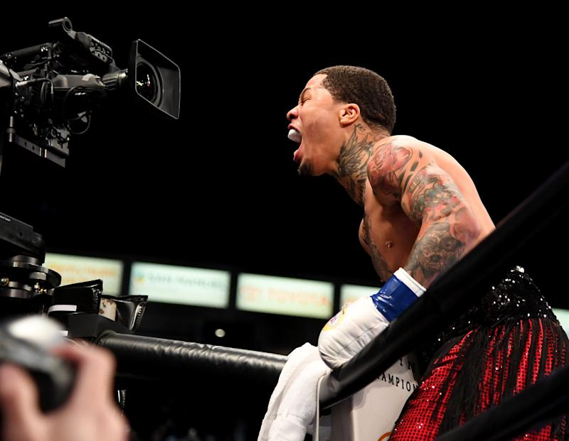 CARSON, CA - FEBRUARY 09: Gervonta Davis (red shorts) celebrates after knocking out Hugo Ruiz (not pictured) in the first round of their WBA Super Featherweight Championships fight at StubHub Center on February 9, 2019 in Carson, California. (Photo by Jayne Kamin-Oncea/Getty Images)