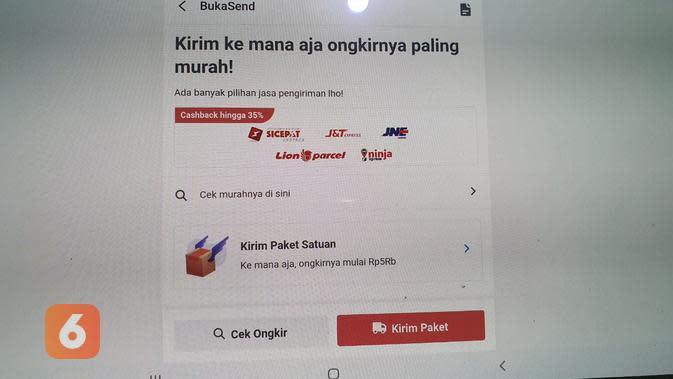 Laman BukaSend yang dapat digunakan tak hanya oleh mitra Bukalapak tetapi konsumen umum (Liputan6.com/ Agustin Setyo W)