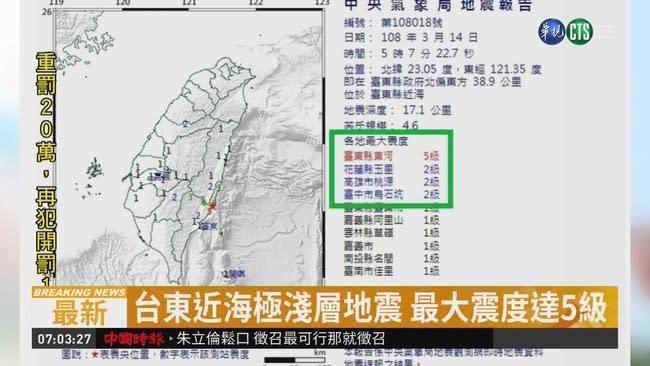 清晨5點7分 台東近海規模4.6地震