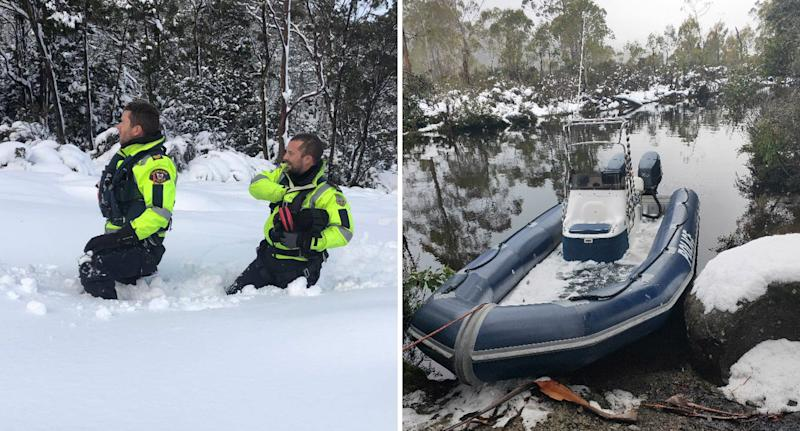 Photo of officers making their way through deep snow, and a dinghy filled with ice in Tasmania.