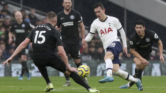 Pemain Tottenham Hotspur, Giovani Lo Celso, berusaha melewati pemain Brighton & Hove Albion pada laga Premier League 2019 di Stadion Tottenham Hotspur, Kamis (26/12). Tottenham menang 2-1 atas Brighton & Hove Albion. (AP/Petros Karadjias)