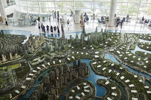 A model of Country Garden's Forest City development plan is seen in Johor Bahru city, Malaysia, in 2016. Photo: Bloomberg