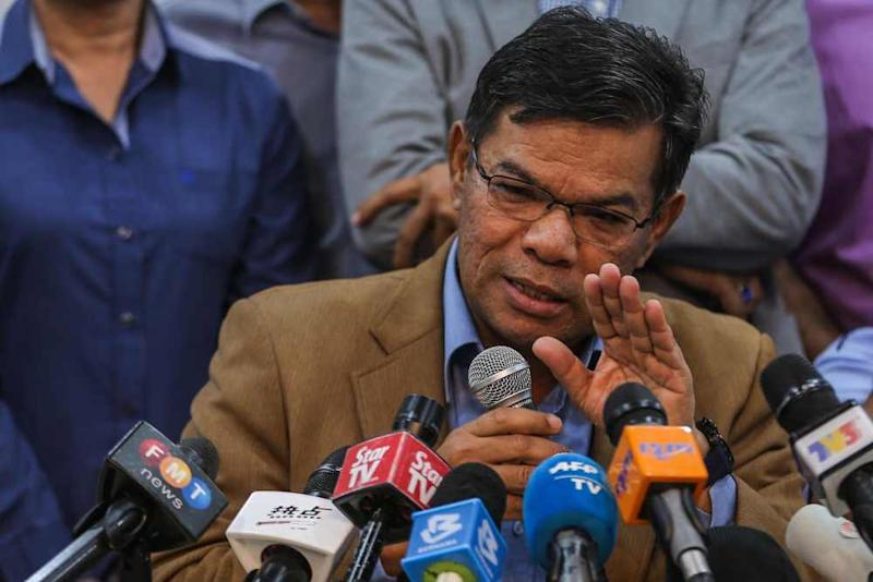 PKR secretary-general Datuk Seri Saifuddin Nasution Ismail speaks to reporters during a press conference at the party's headquarters in Petaling Jaya February 24, 2020. ― Picture by Hari Anggara