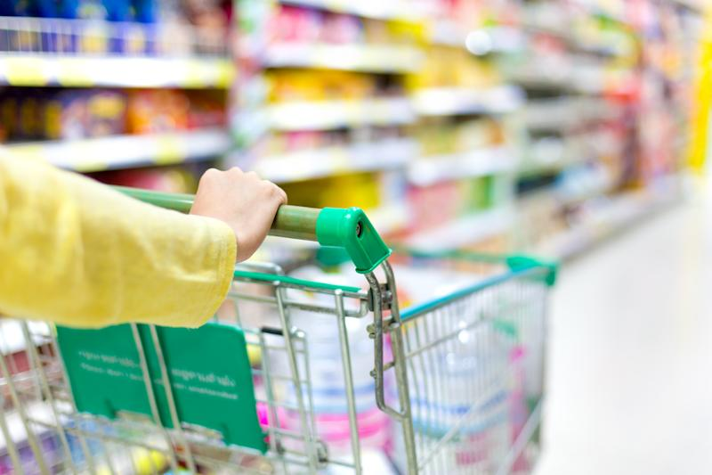 A woman pushing a shopping trolley in a supermarket. Honey Campbell, from Dunedin, claims she suffered a panic attack after being accused of stealing a shopping trolley. She's now in hospital.