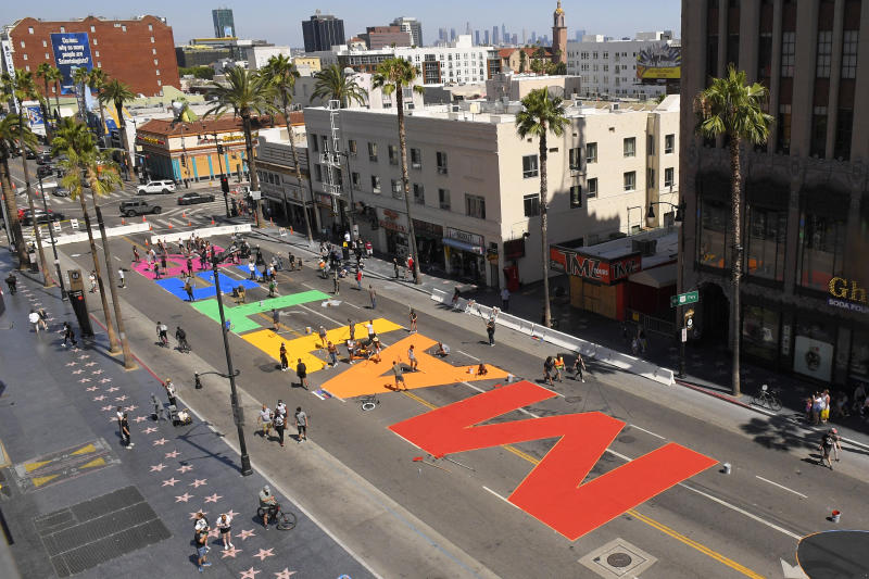 """ALL BLACK LIVES MATTER"" is painted on Hollywood Boulevard near the famed Chinese and Dolby theatres, Saturday, June 13, 2020, in the Hollywood section of Los Angeles.  (AP Photo/Mark J. Terrill)"