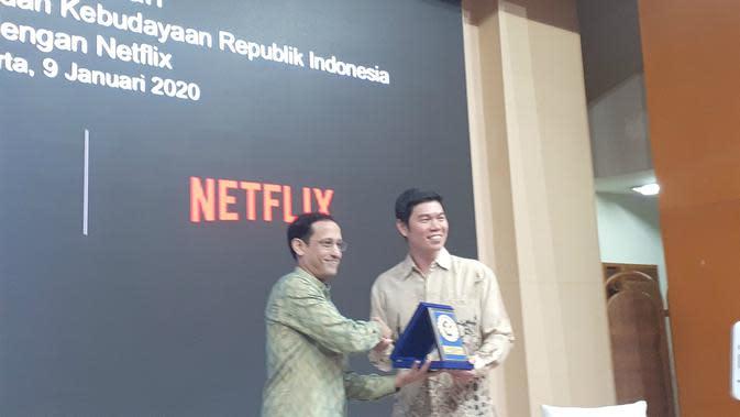 Kemendikbud bekerjasama dengan layanan media streaming digital Netflix, Kamis (9/1/2020). (Merdeka.com/ Tri Yuniwati Lestari)