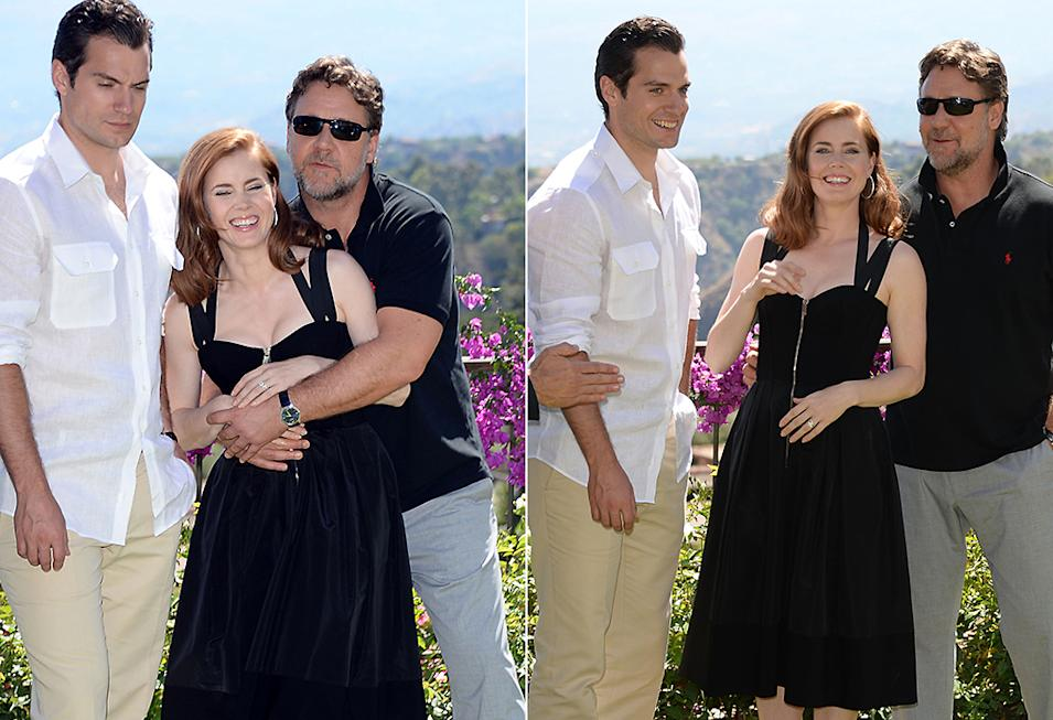 TAORMINA, ITALY - JUNE 15:  Henry Cavill, Amy Adams and Russell Crowe attend 'Man of Steel' Photocall during the Taormina Filmfest 2013 at Hotel Timeo on June 15, 2013 in Taormina, Italy.  (Photo by Venturelli/Getty Images)