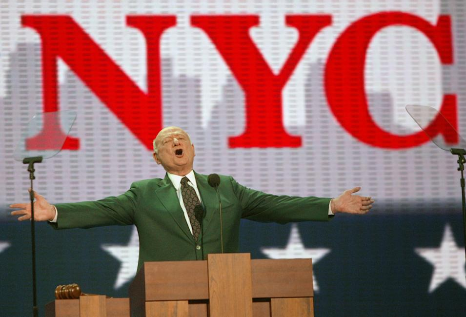 FILE - In this Aug. 30, 2004, file photo, former New York Mayor Ed Koch speaks at the first day of the Republican National Convention in New York. Koch, the combative politician who rescued the city from near-financial ruin during three City Hall terms, has died at age 88. Spokesman George Arzt says Koch died Friday morning Feb. 1, 2013 of congestive heart failure. (AP Photo/Joe Cavaretta, File)