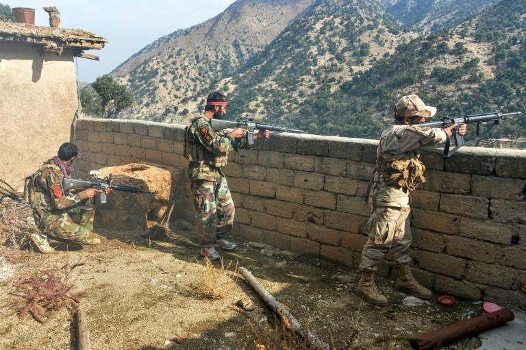 Afghan security forces take part in operations against Islamic State militants in the Achin district of Nangarhar province in November 2019