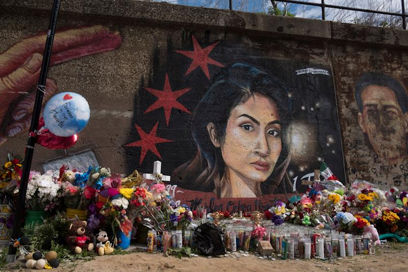 A mural of Marlen Ochoa-Lopez with flowers and balloons in Chicago's neighbourhood of Pilsen.