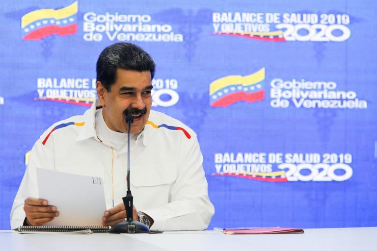 """Venezuela's President Nicolas Maduro, pictured during a meeting with members of the health sector in Caracas on January 7, 2020, called US Secretary of State Mike Pompeo a """"failed clown"""" for backing opposition leader Juan Guaido"""