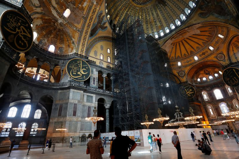 Hagia Sophia mosaics will be covered with curtains during prayers: Turkish presidential spokesman