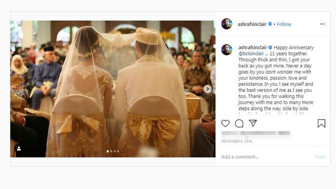 Momen pernikahan Bunga Citra Lestari dan Ashraf Sinclair. (dok. Instagram @ashrafsinclair/https://www.instagram.com/p/B4lvfrzHQLn/?hl=en/Putu Elmira)