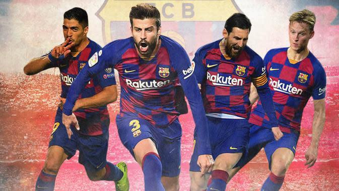 Barcelona FC - Luis Suarez, Gerard Pique, Lionel Messi, Frenkie de Jong (Bola.com/Adreanus Titus)