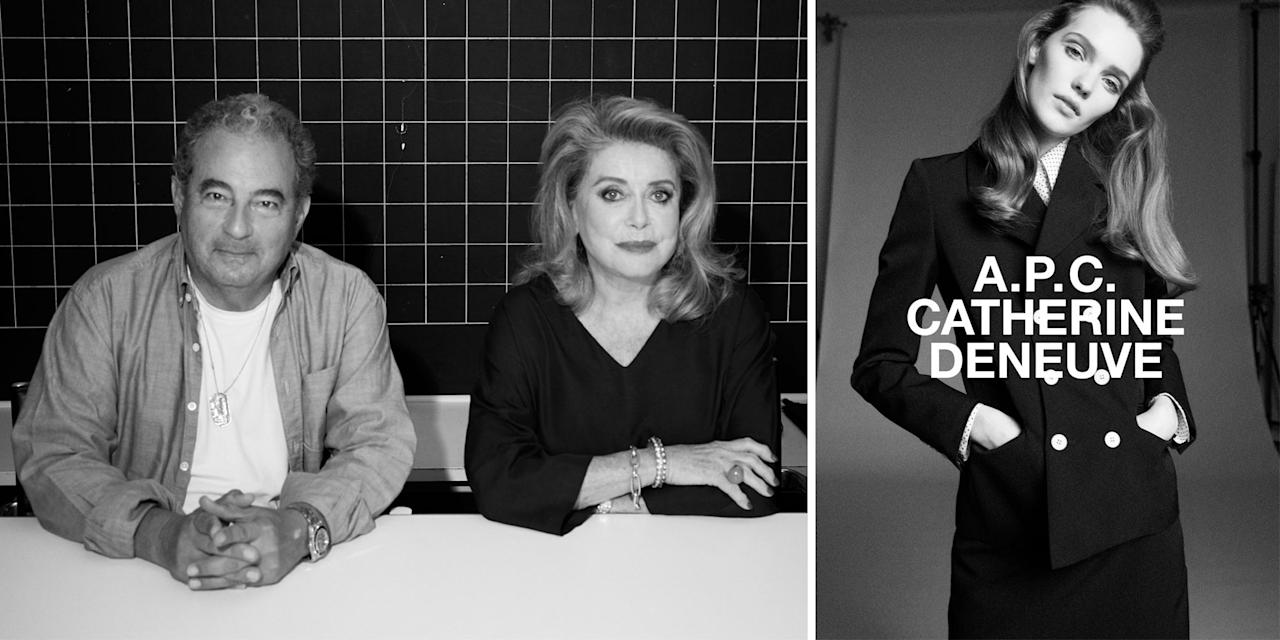 """<p class=""""body-dropcap"""">For his latest A.P.C. Interaction—an ongoing series of collaborations with brands and personalities including Goop, Carhartt WIP, and Kid Cudi—creative director Jean Touitou tapped French actress Catherine Deneuve. Giving the icon carte blanche access to A.P.C.'s Paris atelier, Touitou invited her to express her vision of chic touched with whimsy.</p><p>The results? A perfect capsule wardrobe focused around two key silhouettes: a navy grain de poudre suit and a khaki gabardine jacket-and-skirt ensemble. The pieces are named for some of the many roles Deneuve has played in her more than five-decade career. They're modeled in the A.P.C. C.D. campaign by a dead ringer for a young Deneuve, and include a Séverine blouse (1967's <em>Belle de Jour</em>), of course; a Nelly skirt (1975's <em>Le Sauvage</em>)<em>; </em>and a Gaby shirt (2002's <em>8 Femmes</em>)<em>.</em></p><p><em></em>There's also a Marianne shoulder bag, which can stand for both Marianne Malivert, the role Deneuve played in the 1998 crime drama <em>Place Vendôme, </em>and the national personification of the French Republic, for which <em></em>she modeled for an official bust in 1985. Perhaps the most personal, though, is the Fabienne candle, which is Deneuve's middle name and also happens to be her character's name in <em>The Truth, </em>Oscar-nominated director <em></em>Hirokazu Kore-eda's follow-up to <em>Shoplifters</em>, <a href=""""https://www.amazon.com/Truth-Catherine-Deneuve/dp/B08BZVJ84N"""" target=""""_blank"""">out now on VOD</a>. </p><p>Below, <em>BAZAAR.com</em> chats with Touitou about his experience working with Deneuve.<br></p><hr><h4 class=""""body-h4""""><strong>What drew you to work with <em>the</em> Catherine Deneuve? How did this collaboration come about?</strong></h4><p>It came about quite naturally, because we've know each other as neighbors for maybe 15 years. I live near the A.P.C. studio in Saint-Germain-des-Prés, and I think she literally lives 400 yards from there. I bump"""