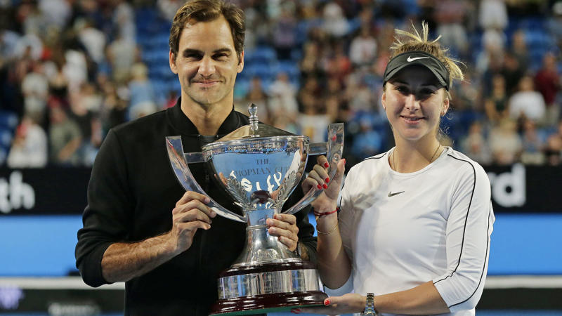 Roger Federer and Belinda Bencic, pictured here after winning the 2019 Hopman Cup.